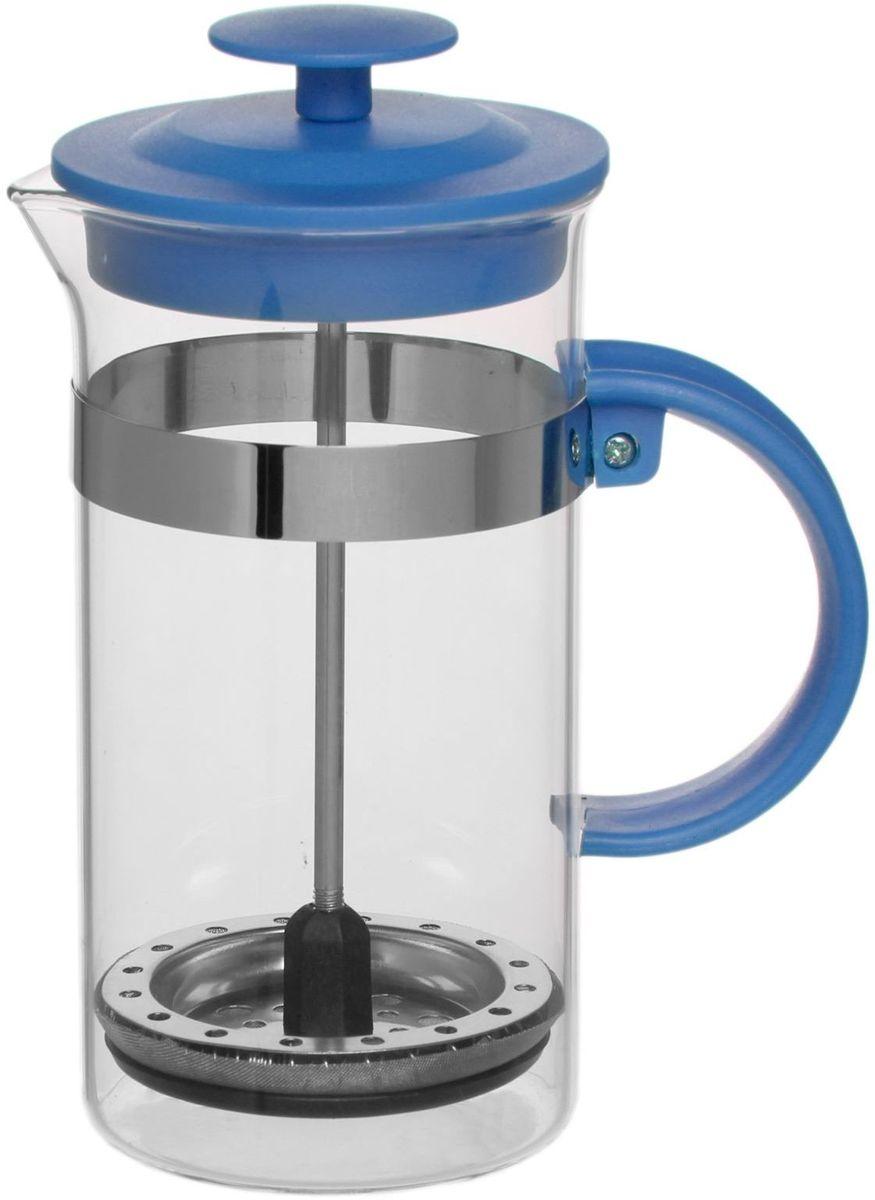 Френч-пресс Доляна Гарсон, цвет: голубой, прозрачный, 350 мл1075448Френч-пресс Доляна Гарсон — замечательное приспособление для приготовления чая и кофе. Он пользуется огромным спросом у любителей этих напитков, ведь изделие довольно простое в использовании и имеет ряд преимуществ. Чай в нем быстрее заваривается, емкость позволяет наиболее полно раскрыться вкусовым качествам напитка. Вы можете готовить кофе и чай с любимыми специями и травами.Чтобы приготовить кофе, сначала вам нужно перемолоть зерна. Степень помола — грубая. Вскипятите воду. Насыпьте кофе в изделие и медленно залейте его кипятком из чайника. Наполните приспособление до середины, подождите 1 минуту и долейте остальное. Накройте крышкой, пусть напиток настоится еще 3 минуты. Медленно опустите поршень. Оставьте кофе на 3 минуты, чтобы опустился осадок. Ваш напиток готов!