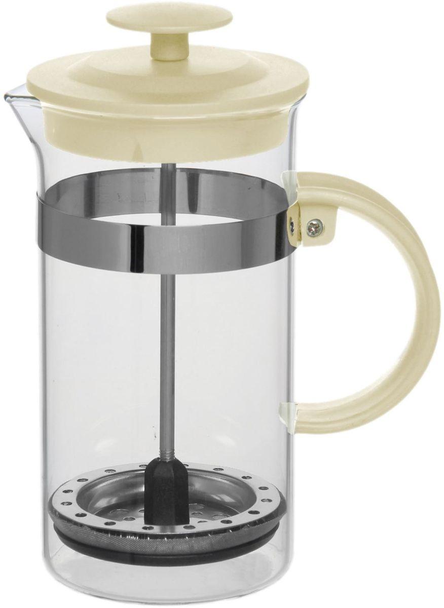 Френч-пресс Доляна Гарсон, цвет: кремовый, прозрачный, 350 мл1075449Френч-пресс Доляна Гарсон - замечательное приспособление для приготовления чая и кофе. Он пользуется огромным спросом у любителей этих напитков, ведь изделие довольно простое в использовании и имеет ряд преимуществ. Чай в нем быстрее заваривается, емкость позволяет наиболее полно раскрыться вкусовым качествам напитка. Вы можете готовить кофе и чай с любимыми специями и травами. Чтобы приготовить кофе, сначала вам нужно перемолоть зерна. Степень помола - грубая. Вскипятите воду. Насыпьте кофе в изделие и медленно залейте его кипятком из чайника. Наполните приспособление до середины, подождите 1 минуту и долейте остальное. Накройте крышкой, пусть напиток настоится еще 3 минуты. Медленно опустите поршень. Оставьте кофе на 3 минуты, чтобы опустился осадок. Ваш напиток готов!