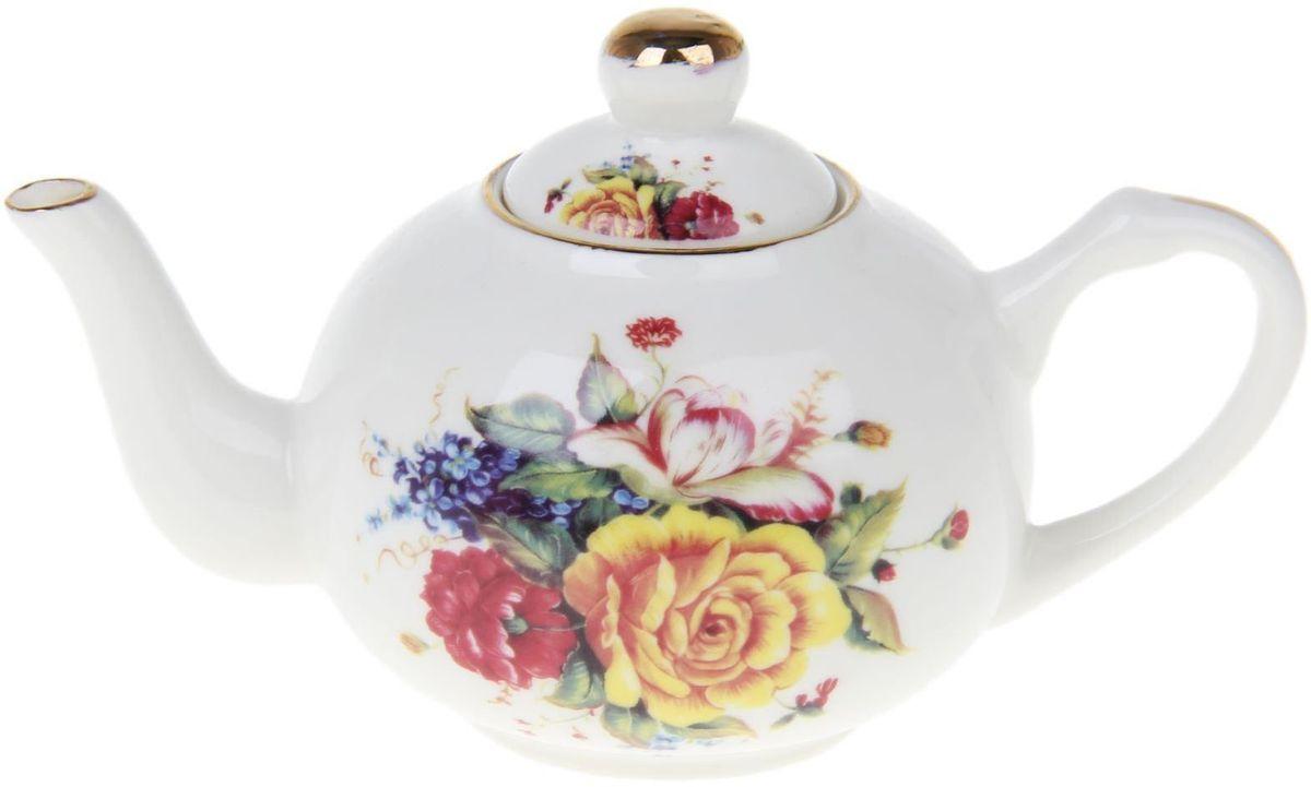 Чайник заварочный Доляна Андалусия, 230 мл1169128Чайник заварочный Доляна выполнен из высококачественной керамики. Посуда отличается прозрачностью и белизной, она неприхотлива и не требует особых условий хранения. Материал изделия долгое время сохраняет тепло, нейтрален к пищевым продуктам, легко моется. Чайник имеет традиционную форму, дополнен ярким цветочным рисунком и золотистой эмалью. Высокие эксплуатационные качества делают изделие удачным выбором для повседневного использования и сервировки праздничного стола.