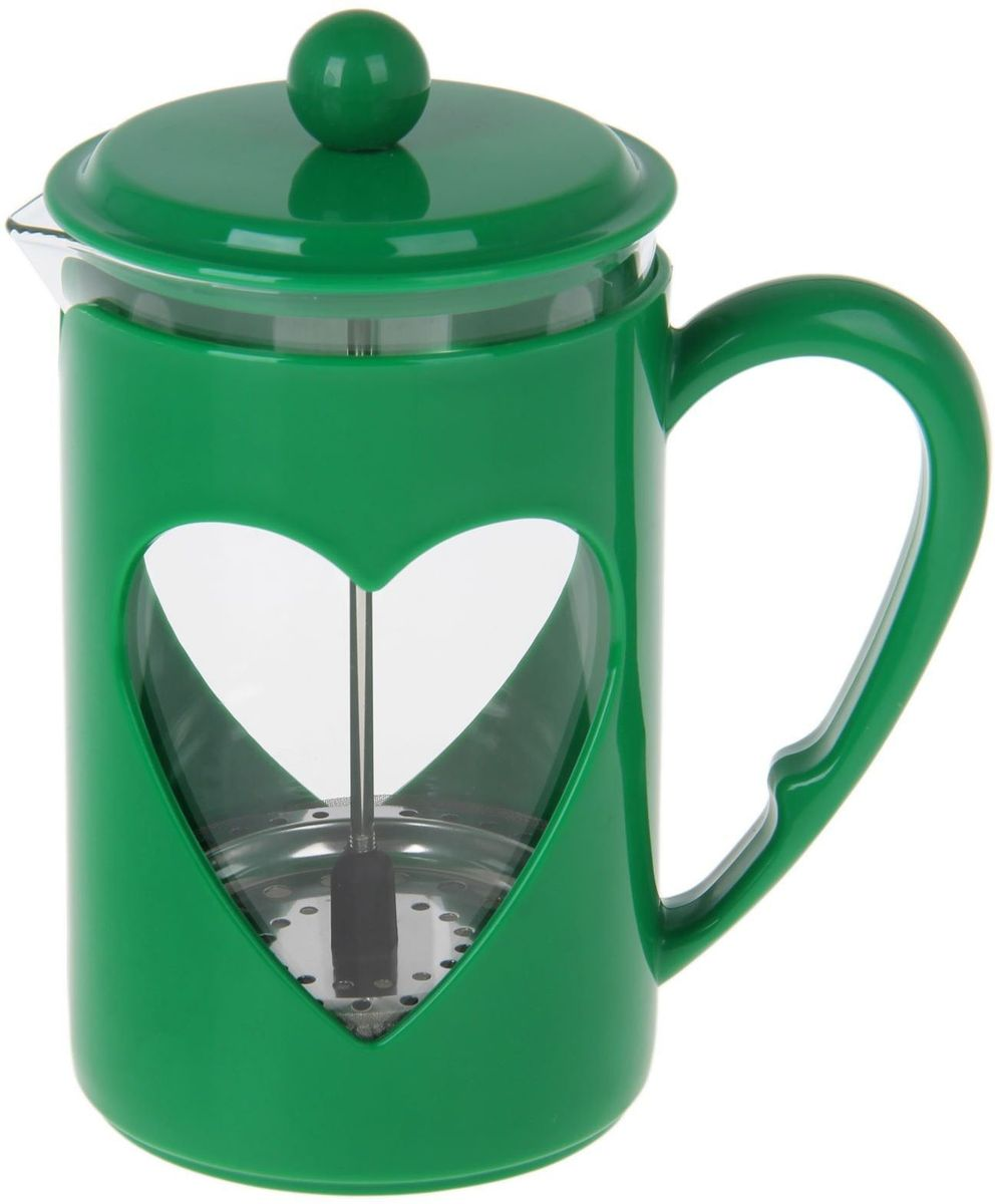 Френч-пресс Доляна Комплимент, цвет: зеленый, прозрачный, 800 мл1194529Френч-пресс Доляна Комплимент - замечательное приспособление для приготовления чая и кофе. Он пользуется огромным спросом у любителей этих напитков, ведь изделие довольно простое в использовании и имеет ряд преимуществ. Чай в нем быстрее заваривается, емкость позволяет наиболее полно раскрыться вкусовым качествам напитка. Вы можете готовить кофе и чай с любимыми специями и травами.Чтобы приготовить кофе, сначала вам нужно перемолоть зерна. Степень помола - грубая. Вскипятите воду. Насыпьте кофе в изделие и медленно залейте его кипятком из чайника. Наполните приспособление до середины, подождите 1 минуту и долейте остальное. Накройте крышкой, пусть напиток настоится еще 3 минуты. Медленно опустите поршень. Оставьте кофе на 3 минуты, чтобы опустился осадок. Ваш напиток готов!