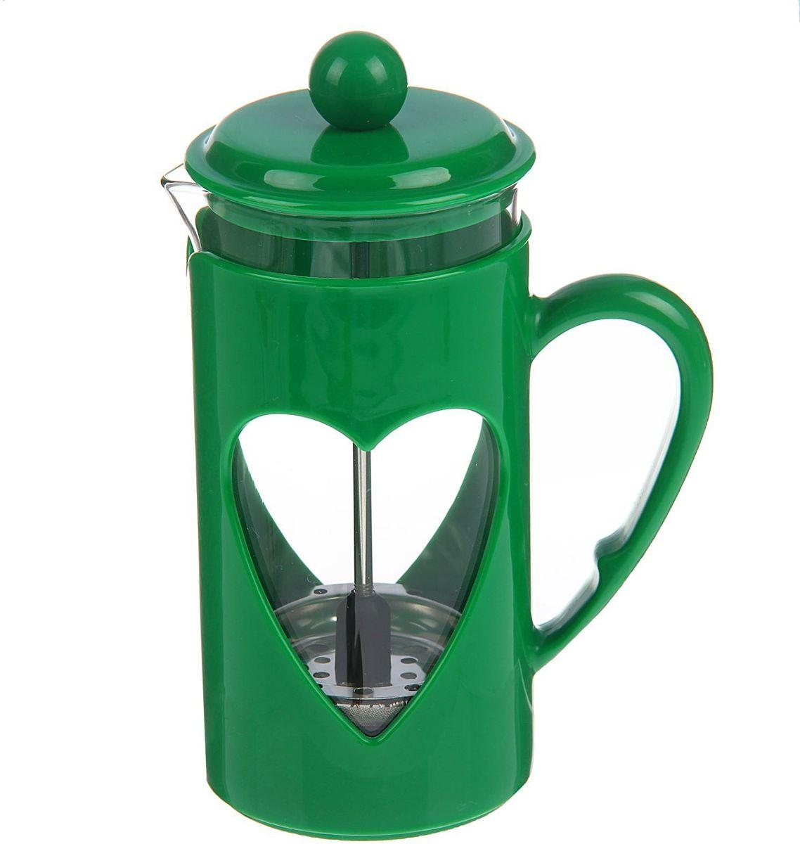 Френч-пресс Доляна Комплимент, цвет: зеленый, прозрачный, 350 мл1379238Френч-пресс Доляна Комплимент - замечательное приспособление для приготовления чая и кофе. Он пользуется огромным спросом у любителей этих напитков, ведь изделие довольно простое в использовании и имеет ряд преимуществ. Чай в нем быстрее заваривается, емкость позволяет наиболее полно раскрыться вкусовым качествам напитка. Вы можете готовить кофе и чай с любимыми специями и травами.Чтобы приготовить кофе, сначала вам нужно перемолоть зерна. Степень помола - грубая. Вскипятите воду. Насыпьте кофе в изделие и медленно залейте его кипятком из чайника. Наполните приспособление до середины, подождите 1 минуту и долейте остальное. Накройте крышкой, пусть напиток настоится еще 3 минуты. Медленно опустите поршень. Оставьте кофе на 3 минуты, чтобы опустился осадок. Ваш напиток готов!