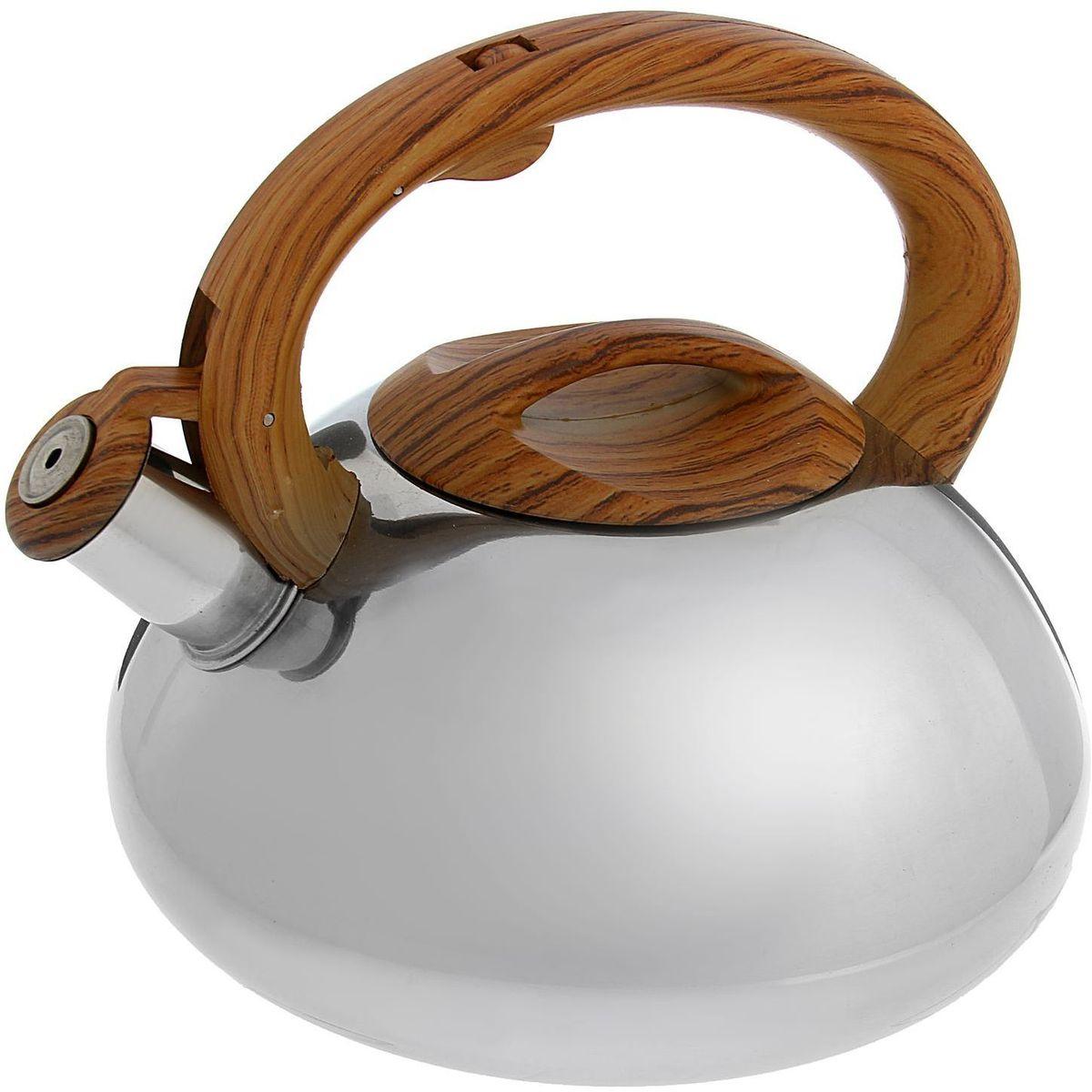 Чайник Доляна Квант, со свистком, цвет: коричневый, стальной, 2,8 л1405209Чайник Доляна Квант выполнен из высококачественной нержавеющей стали. Материал изделия отличается неприхотливостью в уходе, безукоризненной функциональностью, гигиеничностью и стойкостью к коррозии. Чайники из нержавеющей стали абсолютно безопасны для здоровья человека. Благодаря низкой теплопроводности и оптимальному соотношению дна и стенок вода дольше остается горячей, а качественное дно гарантирует быстрый нагрев. Чайник при кипячении сохраняет все полезные свойства воды. Чайник снабжен фиксированной ручкой из пластика с рисунком под дерево. Удобная ручка не нагревается, и поэтому вероятность ожогов сводится к минимуму. Свисток на носике чайника громко оповестит, когда закипела вода. Свисток открывается нажатием кнопки на рукоятке. Подходит для газовых, электрических, стеклокерамических, галогеновых, индукционных плит. Рекомендуется ручная мойка.