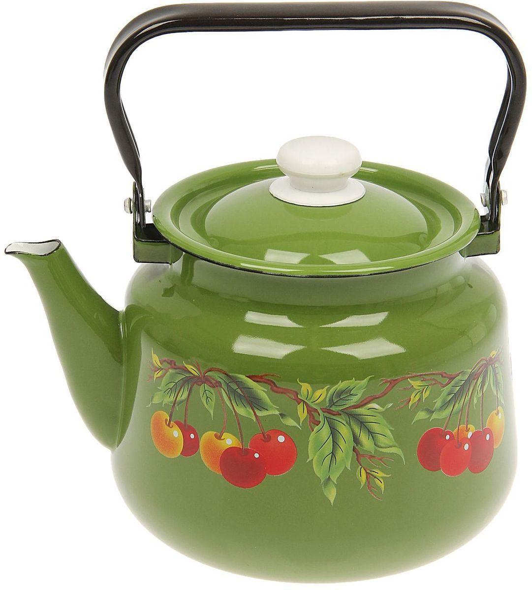 Чайник эмалированный Epos Зеленая вишня, 3,5 л1444510Чайник Epos Зеленая вишня выполнен из высококачественной стали с эмалированным покрытием. Поверхность чайникагладкая, что облегчает уход за ним. Большой объемпозволит приготовить напиток для всей семьи илинебольшой компании. Эстетичный и функциональный чайник будеторигинально смотреться в любом интерьере. Душевная атмосфера и со вкусом накрытый стол всегда будут собирать в вашем доме близких и друзей.Чайник подходит для использования на всех типах плит,включая индукционные. Объем: 3,5 л.