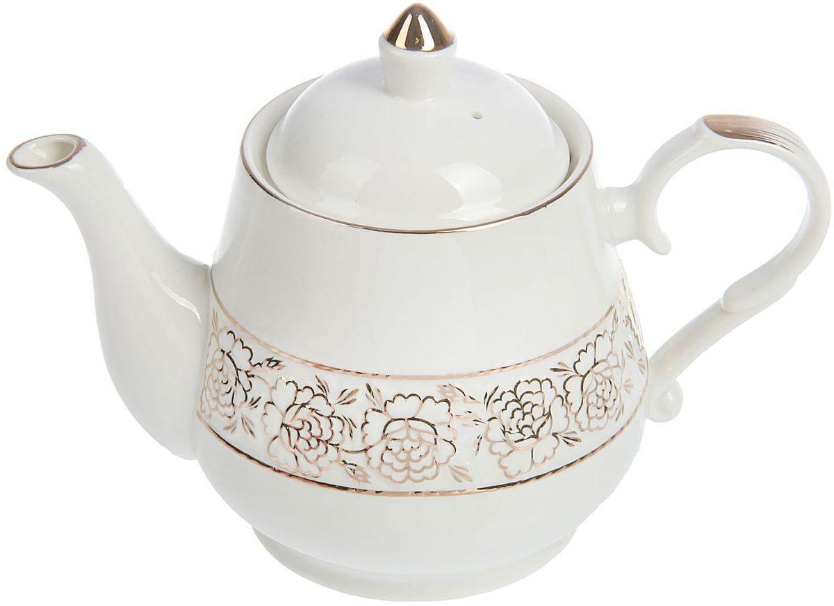 Чайник заварочный Доляна Роскошь, 800 мл1610262Чайник заварочный Доляна выполнен из высококачественной керамики. Посуда отличается прозрачностью и белизной, она неприхотлива и не требует особых условий хранения. Материал изделия долгое время сохраняет тепло, нейтрален к пищевым продуктам, легко моется. Чайник имеет оригинальную форму, дополнен изысканным цветочным рисунком и золотистой эмалью. Высокие эксплуатационные качества делают изделие удачным выбором для повседневного использования и сервировки праздничного стола.