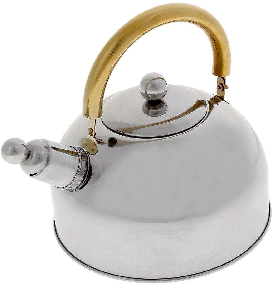 Чайник Доляна Роскошь, со свистком, 2,5 л851933Чайник Доляна Роскошь выполнен из высококачественной нержавеющей стали. Материал изделия отличается неприхотливостью в уходе, безукоризненной функциональностью, гигиеничностью и стойкостью к коррозии. Чайники из нержавеющей стали абсолютно безопасны для здоровья человека. Благодаря низкой теплопроводности и оптимальному соотношению дна и стенок вода дольше остается горячей, а качественное дно гарантирует быстрый нагрев. Чайник при кипячении сохраняет все полезные свойства воды. Чайник снабжен подвижной стальной ручкой. Съемный свисток на носике чайника громко оповестит, когда закипела вода. Подходит для газовых, электрических, стеклокерамических, галогеновых, индукционных плит. Рекомендуется ручная мойка.