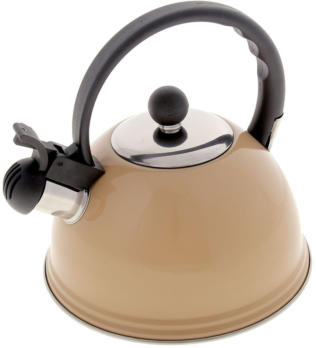 Чайник Доляна Элит, со свистком, цвет: бежевый, 1 лTP-9351.1000Чайник выполнен из высококачественной нержавеющей стали, что обеспечивает долговечность использования. Внешнее зеркальное покрытие придает приятный внешний вид. Бакелитовая ручка делает использование чайника очень удобным и безопасным. Можно мыть в посудомоечной машине. Пригоден для всех видов плит, кроме индукционных.