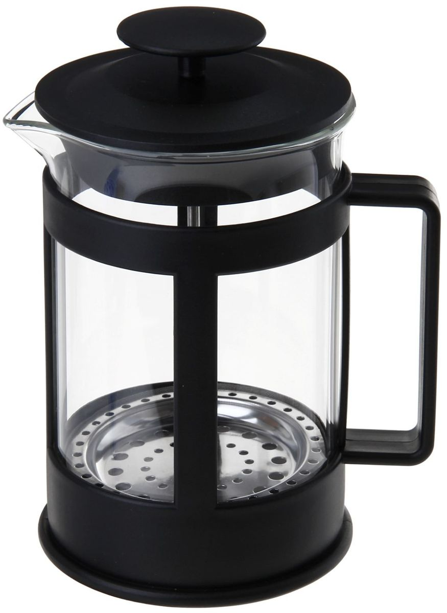 Френч-пресс Доляна Классика, цвет: черный, прозрачный, 350 мл863184Френч-пресс Доляна Классика - замечательное приспособление для приготовления чая и кофе. Он пользуется огромным спросом у любителей этих напитков, ведь изделие довольно простое в использовании и имеет ряд преимуществ. Чай в нем быстрее заваривается, емкость позволяет наиболее полно раскрыться вкусовым качествам напитка. Вы можете готовить кофе и чай с любимыми специями и травами.Чтобы приготовить кофе, сначала вам нужно перемолоть зерна. Степень помола - грубая. Вскипятите воду. Насыпьте кофе в изделие и медленно залейте его кипятком из чайника. Наполните приспособление до середины, подождите 1 минуту и долейте остальное. Накройте крышкой, пусть напиток настоится еще 3 минуты. Медленно опустите поршень. Оставьте кофе на 3 минуты, чтобы опустился осадок. Ваш напиток готов!