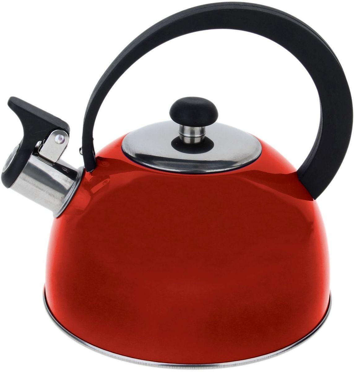 Чайник Доляна Радуга, со свистком, цвет: красный, 2,1 л863659Чайник Доляна Радуга выполнен из высококачественной нержавеющей стали. Материал изделия отличается неприхотливостью в уходе, безукоризненной функциональностью, гигиеничностью и стойкостью к коррозии. Чайники из нержавеющей стали абсолютно безопасны для здоровья человека.Благодаря низкой теплопроводности и оптимальному соотношению дна и стенок вода дольше остается горячей, а качественное дно гарантирует быстрый нагрев. Чайник при кипячении сохраняет все полезные свойства воды.Чайник снабжен подвижной пластиковой ручкой. Удобная ручка не нагревается, и поэтому вероятность ожогов сводится к минимуму. Откидной свисток на носике чайника громко оповестит, когда закипела вода.Подходит для газовых, электрических, стеклокерамических, галогеновых, индукционных плит. Рекомендуется ручная мойка.