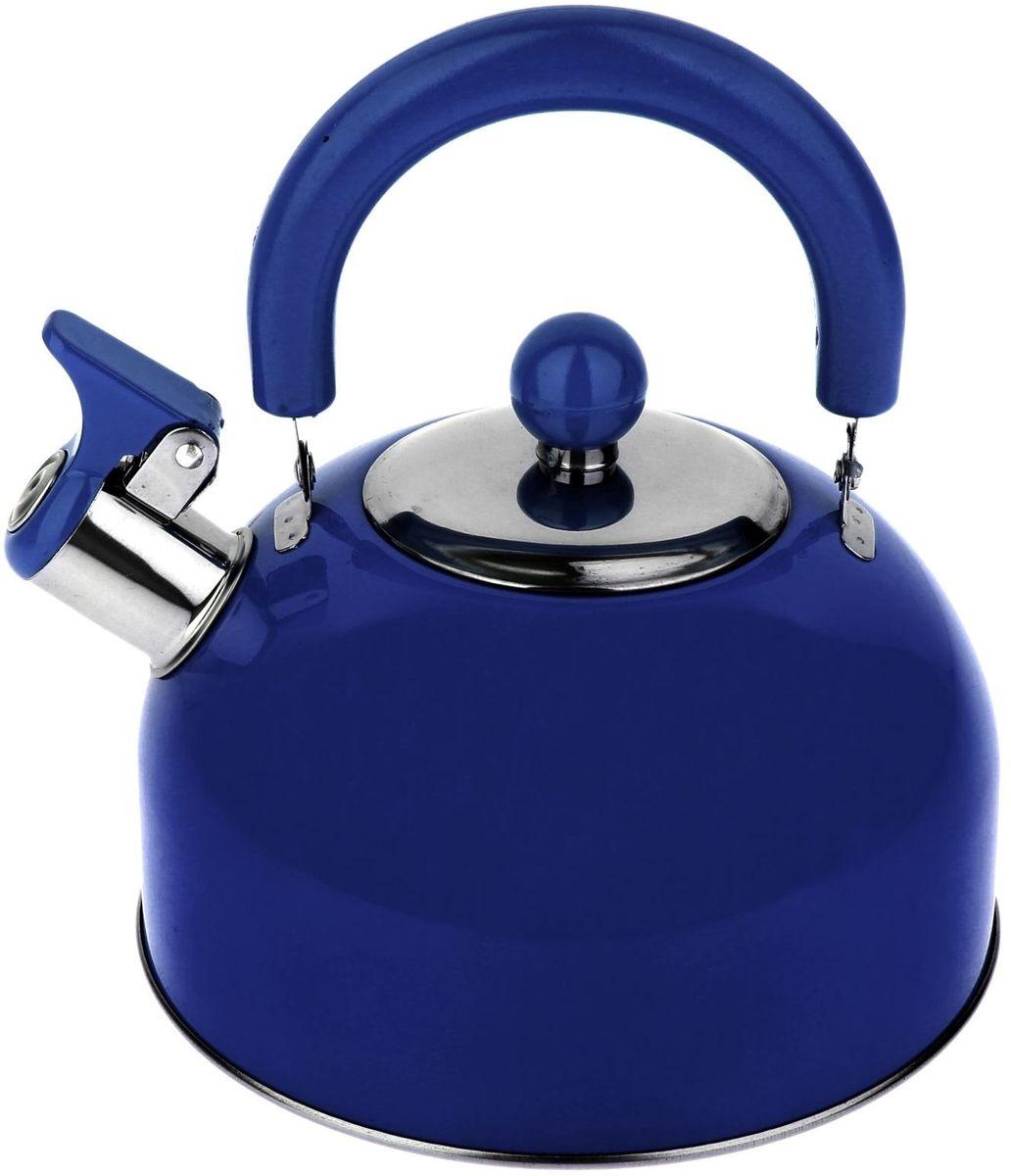 Чайник Доляна Радуга, со свистком, цвет: голубой, 2,1 л54200Чайник Доляна Радуга выполнен из высококачественной нержавеющей стали. Материал изделия отличается неприхотливостью в уходе, безукоризненной функциональностью, гигиеничностью и стойкостью к коррозии. Чайники из нержавеющей стали абсолютно безопасны для здоровья человека.Благодаря низкой теплопроводности и оптимальному соотношению дна и стенок вода дольше остается горячей, а качественное дно гарантирует быстрый нагрев. Чайник при кипячении сохраняет все полезные свойства воды.Чайник снабжен подвижной пластиковой ручкой. Удобная ручка не нагревается, и поэтому вероятность ожогов сводится к минимуму. Откидной свисток на носике чайника громко оповестит, когда закипела вода.Подходит для газовых, электрических, стеклокерамических, галогеновых, индукционных плит. Рекомендуется ручная мойка.