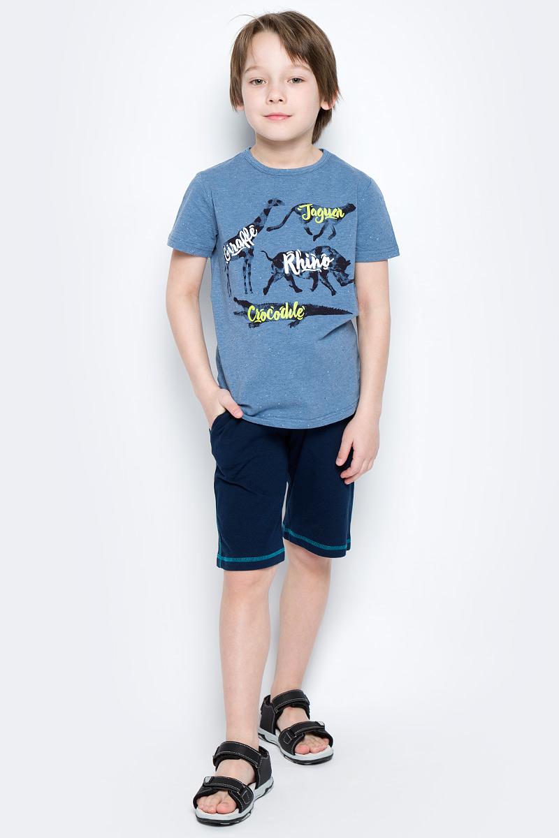 Шорты для мальчика PlayToday, цвет: темно-синий, серый, зеленый. 171169. Размер 116171169Шорты PlayToday из эластичного хлопка идеально подойдут для отдыха и прогулок, а также для занятий спортом. Модель на мягкой резинке с регулируемым шнуром - кулиской.