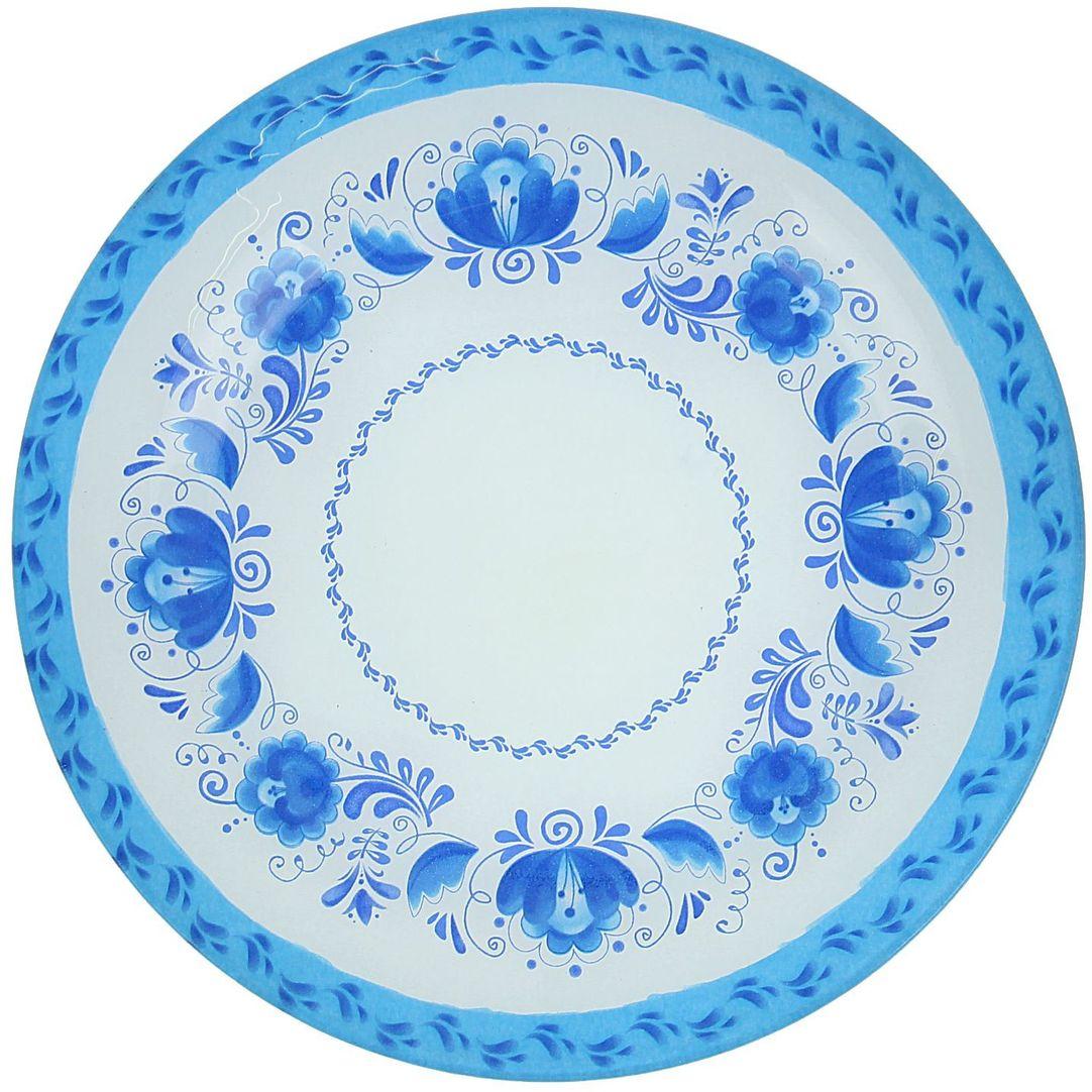 Тарелка Доляна Гжель, диаметр 22 см1571461Тарелка Доляна с природными мотивами в оформлении разнообразит интерьер кухни и сделает застолье самобытным и запоминающимся. Качественное стекло не впитывает запахов, гладкая поверхность обеспечивает легкость мытья.Рекомендуется избегать использования абразивных моющих средств.Делайте любимый дом уютнее!