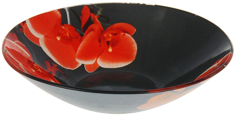 Тарелка глубокая Доляна Орхидеи на черном, диаметр 20 см1571475Тарелка Доляна с природными мотивами в оформлении разнообразит интерьер кухни и сделает застолье самобытным и запоминающимся. Качественное стекло не впитывает запахов, гладкая поверхность обеспечивает легкость мытья.Рекомендуется избегать использования абразивных моющих средств.Делайте любимый дом уютнее!