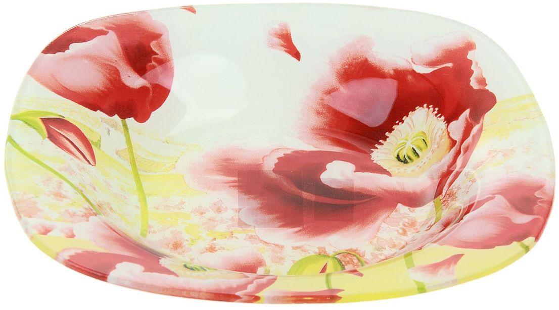 Тарелка глубокая Доляна Маки, диаметр 20 см230189Тарелка Доляна с природными мотивами в оформлении разнообразит интерьер кухни и сделает застолье самобытным и запоминающимся. Качественное стекло не впитывает запахов, гладкая поверхность обеспечивает легкость мытья.Рекомендуется избегать использования абразивных моющих средств.Делайте любимый дом уютнее!