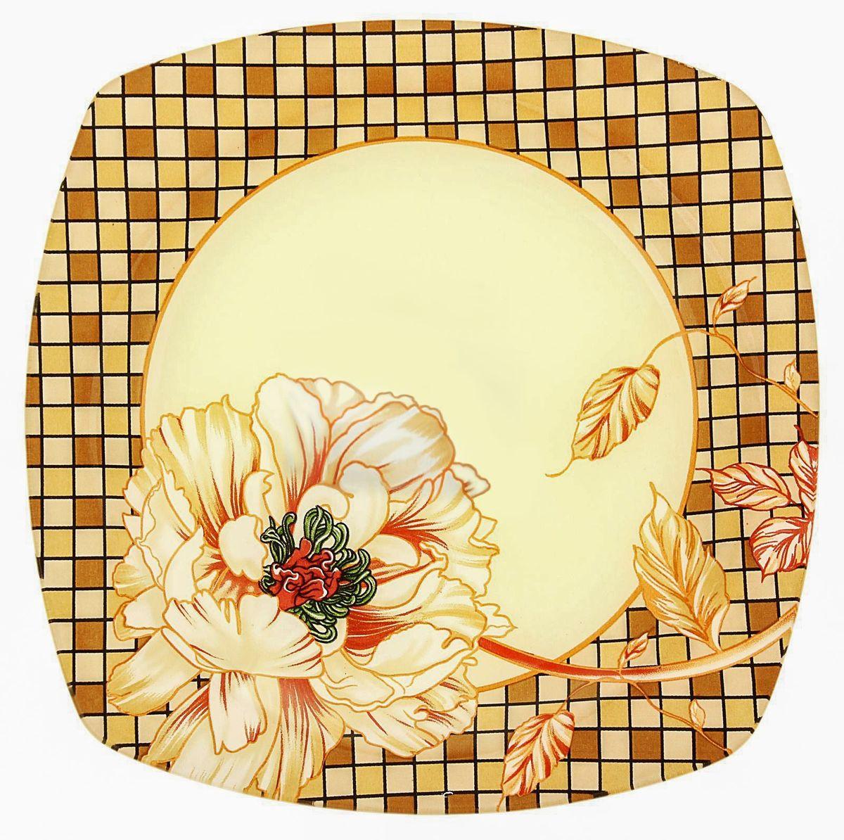 Тарелка десертная Доляна Клетка, диаметр 20 см230532Тарелка Доляна с природными мотивами в оформлении разнообразит интерьер кухни и сделает застолье самобытным и запоминающимся. Качественное стекло не впитывает запахов, гладкая поверхность обеспечивает легкость мытья.Рекомендуется избегать использования абразивных моющих средств.Делайте любимый дом уютнее!
