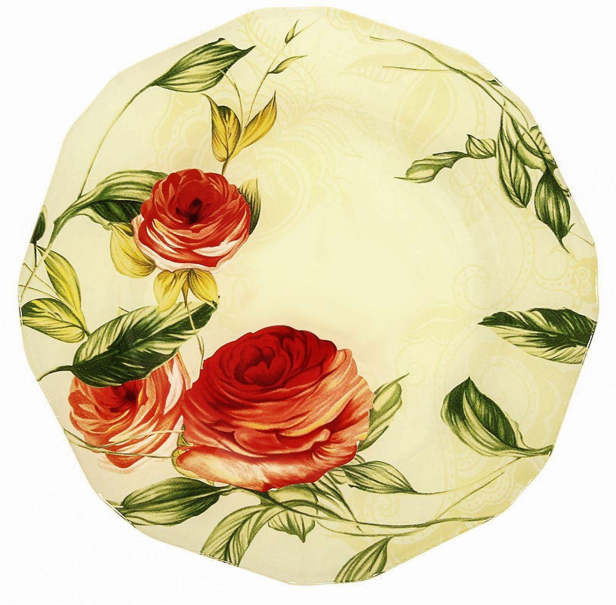 Тарелка десертная Доляна Чайная роза, диаметр 20 см230579Тарелка Доляна с природными мотивами в оформлении разнообразит интерьер кухни и сделает застолье самобытным и запоминающимся. Качественное стекло не впитывает запахов, гладкая поверхность обеспечивает легкость мытья.Рекомендуется избегать использования абразивных моющих средств.Делайте любимый дом уютнее!