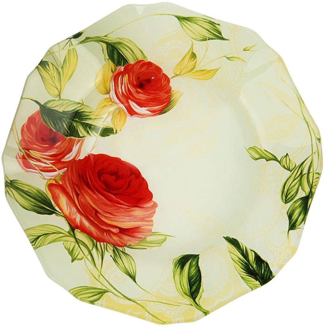Тарелка глубокая Доляна Чайная роза, диаметр 20 см230626Тарелка Доляна с природными мотивами в оформлении разнообразит интерьер кухни и сделает застолье самобытным и запоминающимся. Качественное стекло не впитывает запахов, гладкая поверхность обеспечивает легкость мытья.Рекомендуется избегать использования абразивных моющих средств.Делайте любимый дом уютнее!