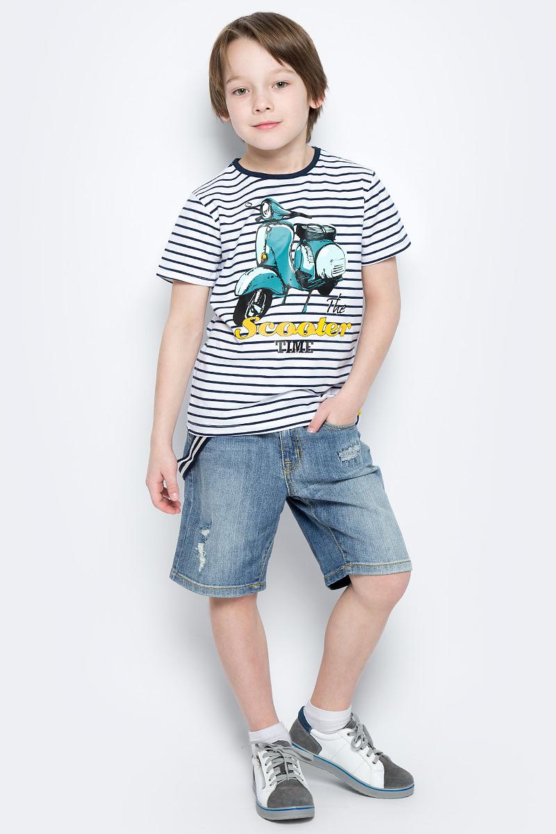 Шорты для мальчика PlayToday, цвет: синий. 171157. Размер 98171157Удлиненные шорты PlayToday из натуральной джинсовой ткани с прорезями и эффектом потертости идеально подойдут для отдыха и прогулок. Модель со шлевками, при необходимости можно использовать ремень. В качестве декора предлагается стильный пояс на карабинах.