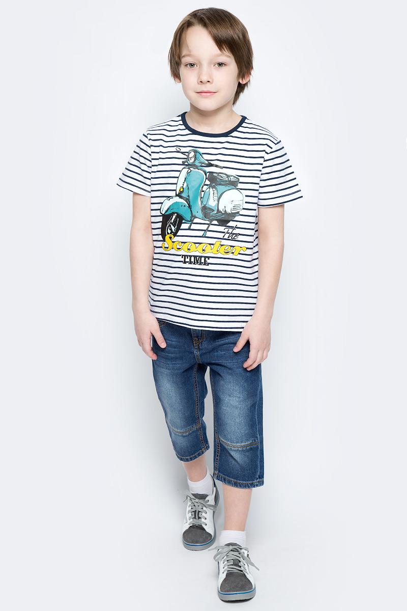 Бриджи для мальчика PlayToday, цвет: синий. 171058. Размер 104171058Бриджи из натуральной джинсовой ткани с эффектом потертости прекрасно подойдут вашему ребенку для отдыха и прогулок. Модель на мягкой резинке. Дополнительно снабжена шлевками для ремня. Мягкая ткань не сковывает движений ребенка. Модель с 5-ю карманами.