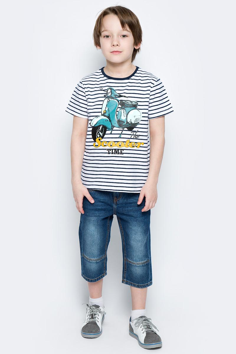 Футболка для мальчика PlayToday, цвет: белый, темно-синий, голубой, желтый. 171159. Размер 98171159Футболка для мальчика PlayToday выполнена из эластичного хлопка. Модель с круглым вырезом горловины и короткими рукавами оформлена оригинальным принтом.