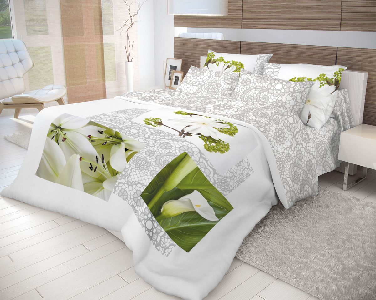 Комплект белья Волшебная ночь Nezhnost, 2-спальный, наволочки 70х70, цвет: зеленый, серый, белый. 710564710564Роскошный комплект постельного белья Волшебная ночь Nezhnost выполнен из натурального ранфорса (100% хлопка) и оформлен оригинальным рисунком. Комплект состоит из пододеяльника, простыни и двух наволочек. Ранфорс - это новая современная гипоаллергенная ткань из натуральных хлопковых волокон, которая прекрасно впитывает влагу, очень проста в уходе, а за счет высокой прочности способна выдерживать большое количество стирок. Высочайшее качество материала гарантирует безопасность.