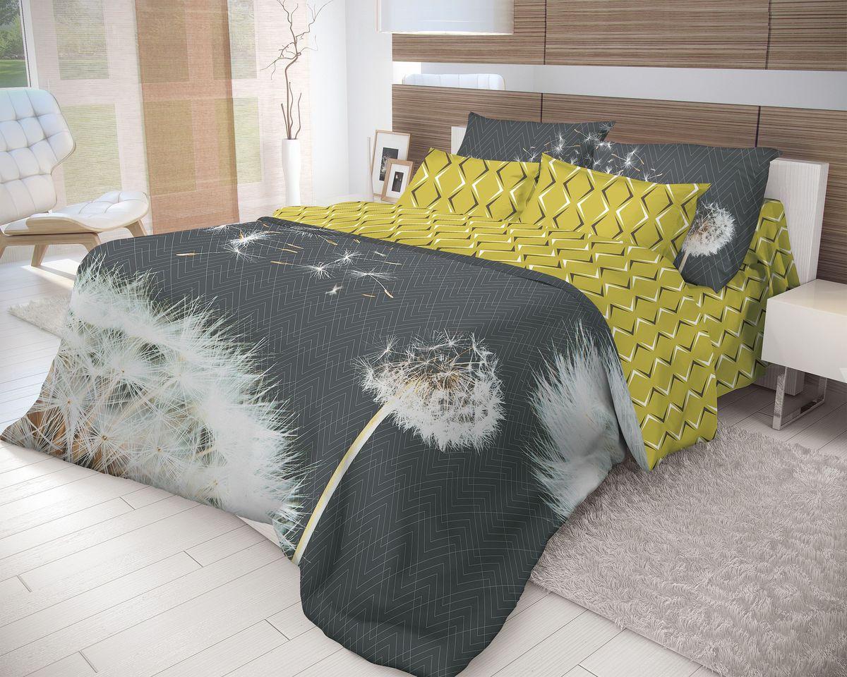 Комплект белья Волшебная ночь Dandelion, 2-спальный  простыней  резинке, наволочки 70х70, цвет: черный, желтый, белый. 710570