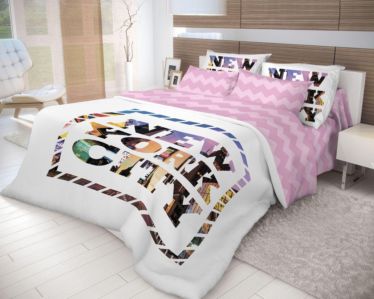 Комплект белья Волшебная ночь New York, 2-спальный, наволочки 70х70, цвет: белый, лиловый. 710572710572Роскошный комплект постельного белья Волшебная ночь New York выполнен из натурального ранфорса (100% хлопка) и оформлен оригинальным рисунком. Комплект состоит из пододеяльника, простыни и двух наволочек. Ранфорс - это новая современная гипоаллергенная ткань из натуральных хлопковых волокон, которая прекрасно впитывает влагу, очень проста в уходе, а за счет высокой прочности способна выдерживать большое количество стирок. Высочайшее качество материала гарантирует безопасность.