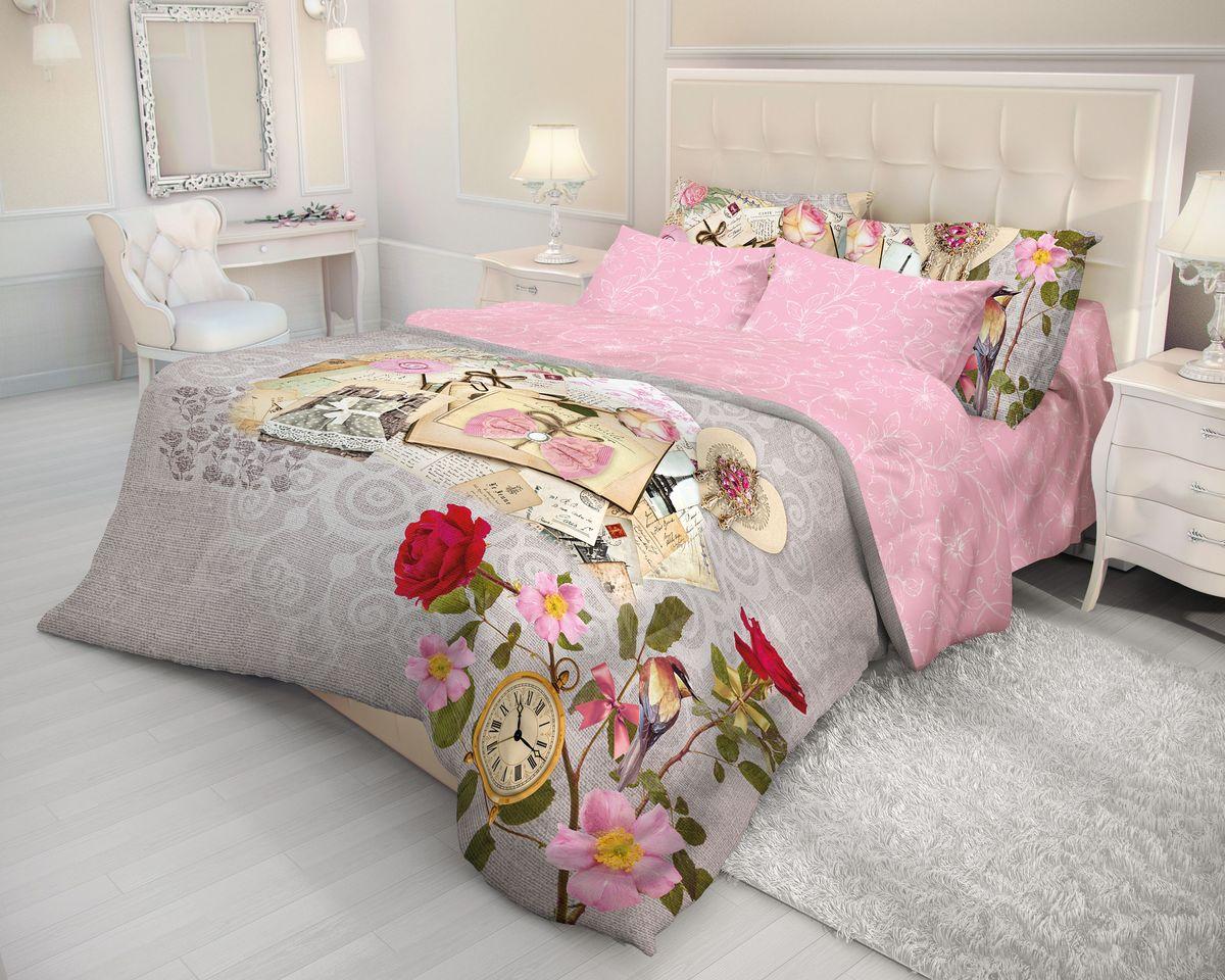 Комплект белья Волшебная ночь Vintage, 2-спальный с простыней на резинке, наволочки 70х70, цвет: серый, розовый. 710603710603Роскошный комплект постельного белья Волшебная ночь Vintage выполнен из натурального ранфорса (100% хлопка) и оформлен оригинальным рисунком. Комплект состоит из пододеяльника, простыни и двух наволочек. Ранфорс - это новая современная гипоаллергенная ткань из натуральных хлопковых волокон, которая прекрасно впитывает влагу, очень проста в уходе, а за счет высокой прочности способна выдерживать большое количество стирок. Высочайшее качество материала гарантирует безопасность.