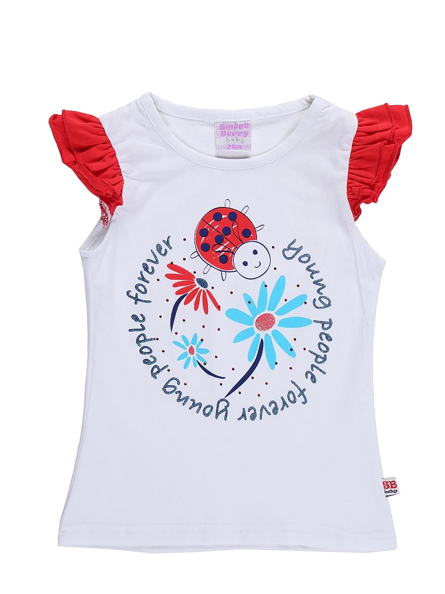Футболка для девочки Sweet Berry Baby, цвет: белый. 712049. Размер 86 блузка для девочки sweet berry цвет красный белый 205420 размер 128