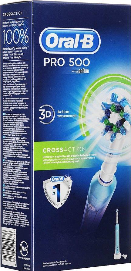Электрическая зубная щетка Oral-B PС 500 Precision Clean4210201215776Электрическая зубная щетка Oral-B PRO 500 удаляет до двух раз больше зубного налета, чем мануальная зубная щетка. Благодаря профессионально разработанному дизайну насадки Precision Clean щетка эффективно удаляет налет и подходит для базовой гигиены полости рта. Комплектация: аккумуляторная электрическая зубная щетка с 1 режимом чистки: «Ежедневная чистка» (1 шт.), сменная насадка CrossAction (1 шт.), зарядное устройство (1 шт.)Подходит для детей с 3 лет.8800 возвратно-вращательных движений + 20000 пульсирующих движений.Перейдите на новый уровень чистки за 2 минуты!* Удаляет до 100% больше зубного налета, чем мануальная зубная щетка, а также улучшает состояние десен.* Голубые щетинки Indicator обесцвечиваются наполовину, сигнализируя о необходимости замены насадки. Регулярно меняйте насадку, чтобы постоянно получать превосходный результат (менять насадку рекомендуется в среднем раз в 3 месяца).* Разработана со стоматологами. Закругленные кончики щетинок и встроенный датчик давления (автоматически отключающий пульсацию при чрезмерном давлении на щетку) гарантируют безопасность применения.* Oral-B – марка зубных щеток №1, используемая большинством стоматологов мира!* (* на основании международных опросов P&G среди репрезентативной выборки стоматологов, проводимых регулярно, в т.ч. 2013-2015 гг.)* Гарантия результата или возврат денег. (Испытайте в действии зубную щетку Oral-B в течение 30 дней. Если вы не будете на 100% удовлетворены результатом, Oral-B вернет деньги. Подробная информация: vk.com/insmiles и everydayme.ru/teg/oral-b)* 3D-технология чистки совмещает возвратно-вращательные движения с пульсацией: пульсирующие движения бережно разрыхляют зубной налет, а возвратно-вращательные движения выметают его и массируют десны.* Производится в Германии.* Водонепроницаемая ручка и компактное зарядное устройство.