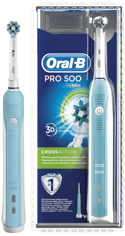 Электрическая зубная щетка Oral-B PRO 500 Cross Action (blister)CRS-80273547Электрическая зубная щетка Oral-B PRO 500 удаляет до двух раз больше зубного налета, чем мануальная зубная щетка. Благодаря профессионально разработанному дизайну насадки CrossAction, щетинки, расположенные под углом 16?, окружают каждый зуб, бережно удаляя налет даже из труднодоступных мест и вдоль линии десны.Комплектация: аккумуляторная электрическая зубная щетка с 1 режимом чистки: «Ежедневная чистка» (1 шт.), сменная насадка CrossAction (1 шт.), зарядное устройство (1 шт.)Подходит для детей с 3 лет.8800 возвратно-вращательных движений + 20000 пульсирующих движений.Перейдите на новый уровень чистки за 2 минуты!* Удаляет до 100% больше зубного налета, чем мануальная зубная щетка, а также улучшает состояние десен.* Голубые щетинки Indicator обесцвечиваются наполовину, сигнализируя о необходимости замены насадки. Регулярно меняйте насадку, чтобы постоянно получать превосходный результат (менять насадку рекомендуется в среднем раз в 3 месяца.)* Разработана со стоматологами. Закругленные кончики щетинок и встроенный датчик давления (автоматически отключающий пульсацию при чрезмерном давлении на щетку) гарантируют безопасность применения.* Oral-B – марка зубных щеток №1, используемая большинством стоматологов мира!* (* на основании международных опросов P&G среди репрезентативной выборки стоматологов, проводимых регулярно, в т.ч. 2013-2015 гг.)* Гарантия результата или возврат денег. (Испытайте в действии зубную щетку Oral-B в течение 30 дней. Если вы не будете на 100% удовлетворены результатом, Oral-B вернет деньги. Подробная информация: vk.com/insmiles и everydayme.ru/teg/oral-b )* 3D-технология чистки совмещает возвратно-вращательные движения с пульсацией: пульсирующие движения бережно разрыхляют зубной налет, а возвратно-вращательные движения выметают его и массируют десны.* Производится в Германии.* Водонепроницаемая ручка и компактное зарядное устройство.Электрические зубные щетки. Стать