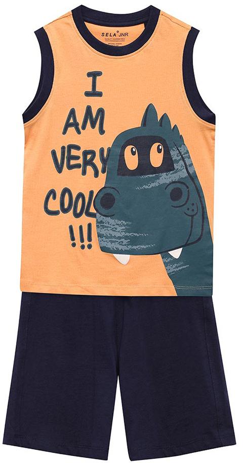 Комплект одежды для мальчика Sela: майка, шорты, цвет: желто-оранжевый. TslSh-711/517-7235. Размер 110, 5 летTslSh-711/517-7235Комплект для мальчика Sela, состоящий из майки и шорт, станет отличным дополнением к гардеробу в летний период. Комплект изготовлен из натурального хлопка, благодаря чему он приятен на ощупь и комфортен в носке. Майка прямого кроя оформлена оригинальным принтом. Круглый вырез горловины и проймы дополнены мягкой эластичной резинкой в тон шортам. Однотонные короткие шорты прямого кроя имеют пояс на мягкой резинке, дополнительно регулируемый шнурком.