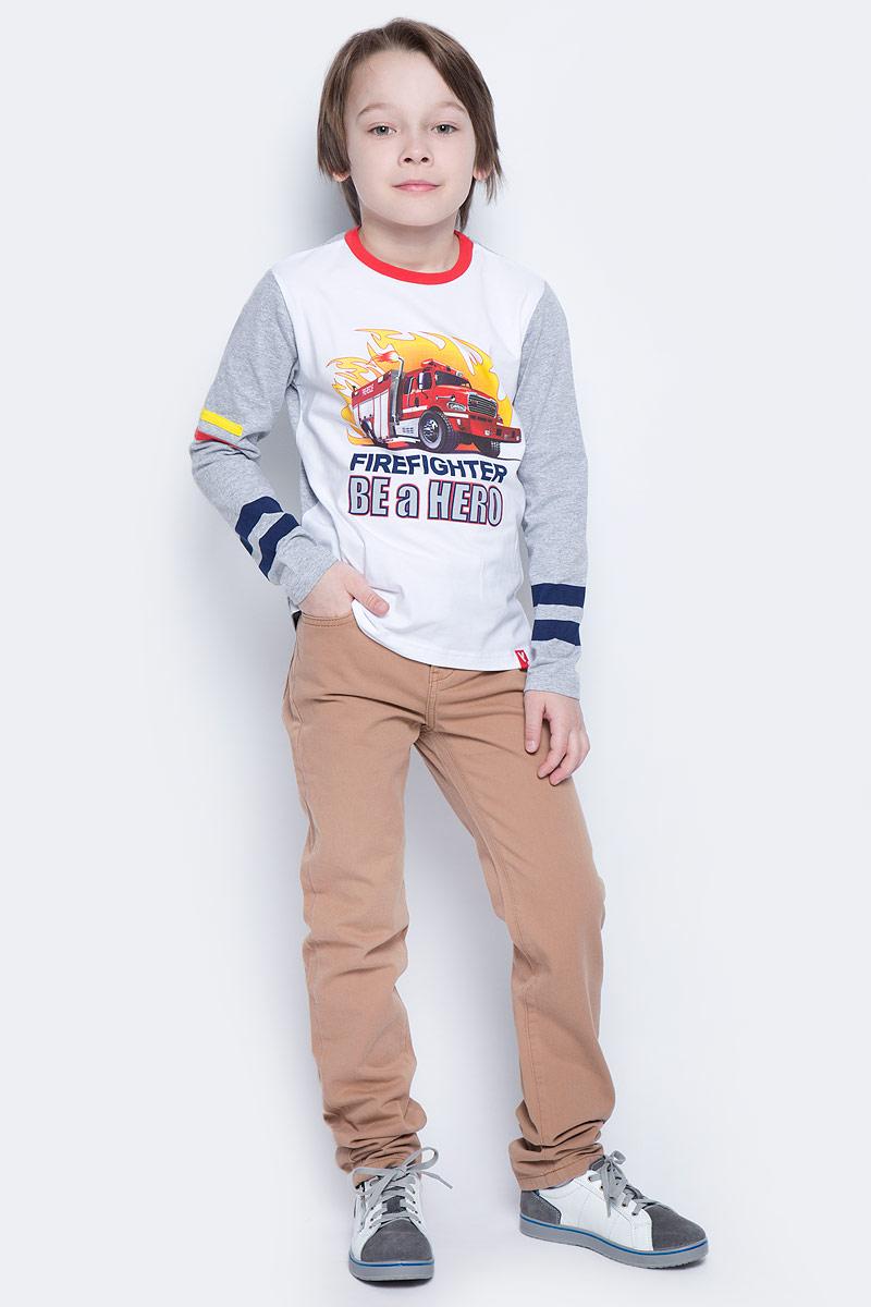 Брюки для мальчика PlayToday, цвет: коричневый, синий. 171009. Размер 98171009Практичные брюки из натурального материала. Не сковывают движения ребенка. Приятные на ощупь и не прихотливые в уходе. Будут уместны и на прогулке, и для похода в гости. Декор - вставка из натуральной джинсы выгодно отличают данное изделие. Брюки можно легко комбинировать с любым вариантом верха.