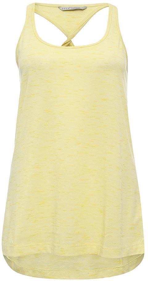 Майка женская Sela, цвет: желтый меланж. Tsl-111/1243-7234. Размер L (48)Tsl-111/1243-7234Оригинальная женская майка-борцовка Sela, выполненная из качественного легкого материала, отлично подойдет для занятий спортом и для повседневной носки. Модель прямого кроя с удлиненной спинкой и узкими лямками будет отлично сочетаться с джинсами, лосинами и шортами. Вырез горловины и проймы дополнены мягкой эластичной бейкой. Мягкая ткань на основе полиэстера и вискозы комфортна и приятна на ощупь.