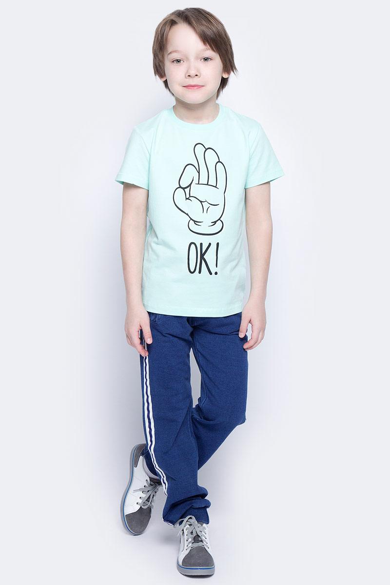 Футболка для мальчика PlayToday, цвет: голубой, черный. 171162. Размер 116171162Футболка для мальчика PlayToday выполнена из эластичного хлопка. Модель с круглым вырезом горловины и короткими рукавами оформлена оригинальным принтом.