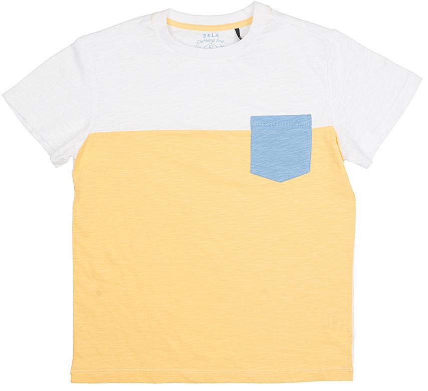 Футболка для мальчика Sela, цвет: светло-желтый. Ts-811/586-7215. Размер 146, 11 летTs-811/586-7215Стильная футболка для мальчика Sela изготовлена из натурального хлопка. Полочка футболки выполнена из материала двух цветов и дополнена контрастным накладным кармашком, спинка однотонная. Воротник дополнен мягкой трикотажной резинкой. Яркий цвет модели позволяет создавать модные образы.