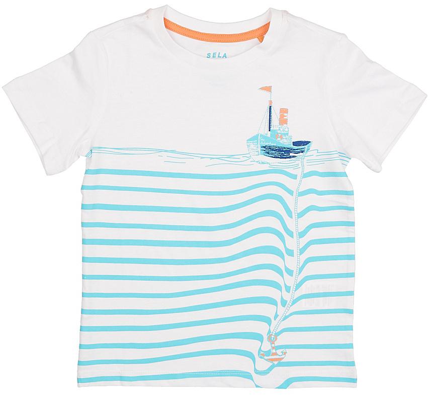 Футболка для мальчика Sela, цвет: белый. Ts-711/200-7213. Размер 110, 5 летTs-711/200-7213Стильная футболка для мальчика Sela изготовлена из натурального хлопка и оформлена оригинальным принтом. Воротник дополнен мягкой трикотажной резинкой.Яркий цвет модели позволяет создавать модные образы.