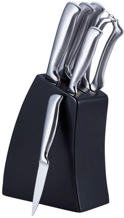 """Набор ножей Bergner """"4200 MM-BG"""" станет уместен на любой кухне.  В набор входит 7 предметов: нож для хлеба 22 см, нож для нарезки 20 см, нож поварской 20 см, нож универсальный 12,5 см, нож для чистки овощей 9 см, ножницы, подставка.  Удобная подставка черного цвета имеет отверстие для каждого вида ножа, помогает сэкономить место и уберечь ваших детей от случайных порезов. Лезвия ножей выполнены из высококачественной нержавеющей стали, которая абсолютно не впитывает посторонних запахов. Профессиональная заточка лезвий сохраняет ножи острыми в течение долгого времени. Рукоятки ножей изготовлены из нержавеющей стали с тщательной полировкой. Это обеспечивает комфортное положение ножей в руке и легкость в обращении с ними."""