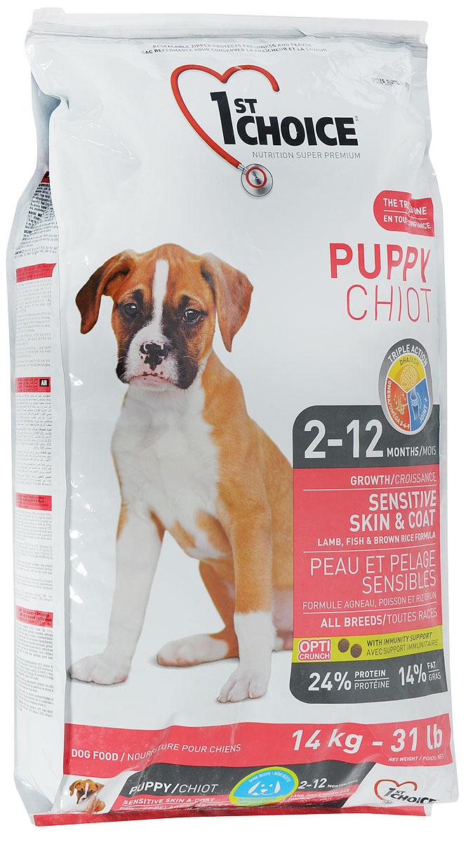 """Корм сухой 1st Choice """"Puppy"""" для щенков с чувствительной кожей и шерстью, с ягненком, рыбой и рисом, 14 кг"""