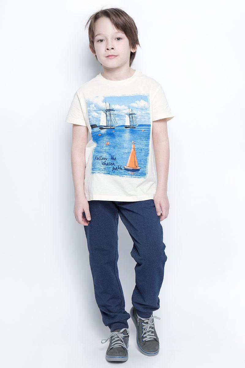 Футболка для мальчика Sela, цвет: серовато-янтарный. Ts-811/1077-7213. Размер 152, 12 лет футболка для девочки sela цвет лиловый tsl 611 984 7223 размер 152 12 лет