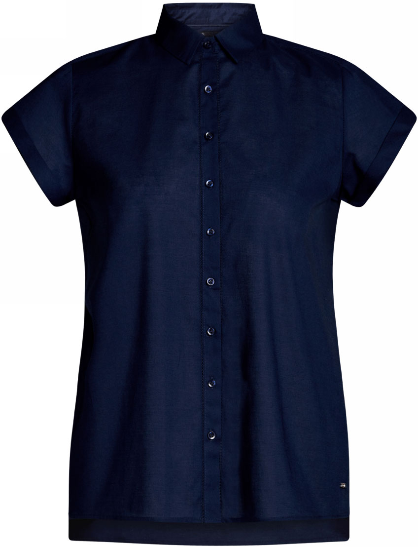 Рубашка женская oodji Ultra, цвет: темно-синий. 11411141/46401/7900N. Размер 42-170 (48-170) брюки женские oodji ultra цвет темно синий 11703094 45859 7900n размер 42 170 48 170