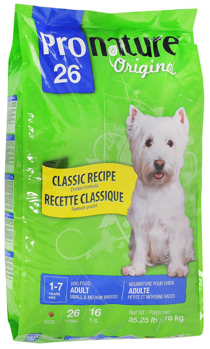 Корм сухой Pronature Original 26 для собак мелких и средних пород, с курицей, 16 кг корм сухой pronature original 26 для собак мелких и средних пород с курицей 16 кг