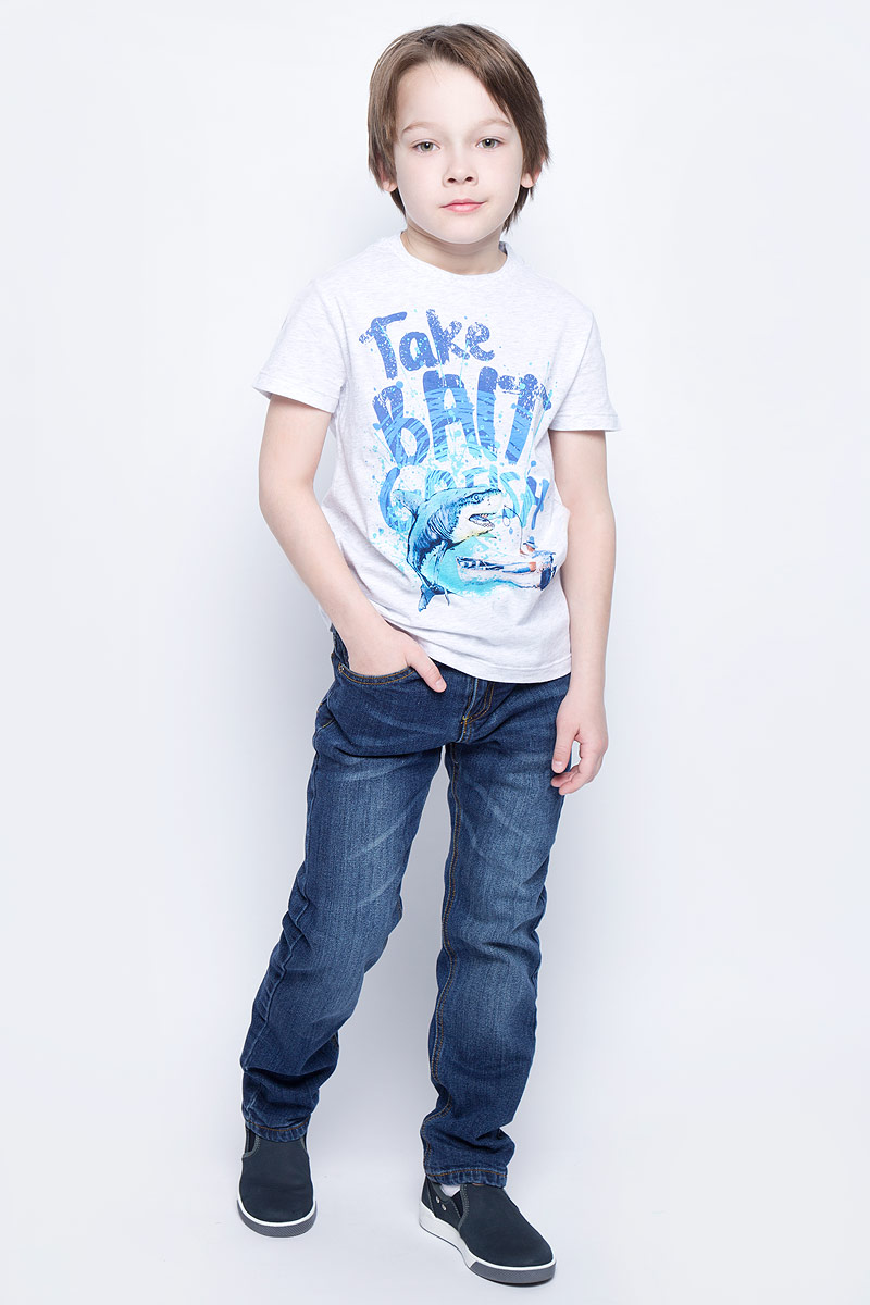 Футболка для мальчика Sela, цвет: светло-серый меланж. Ts-811/1072-7213. Размер 152, 12 лет футболка для девочки sela цвет лиловый tsl 611 984 7223 размер 152 12 лет