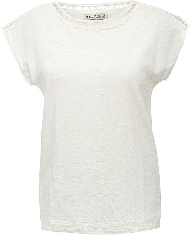 Футболка женская Sela, цвет: молочный. Ts-111/1256-7243. Размер L (48) футболка женская moodo цвет белый сиреневый серый l ts 2045 white размер m 46