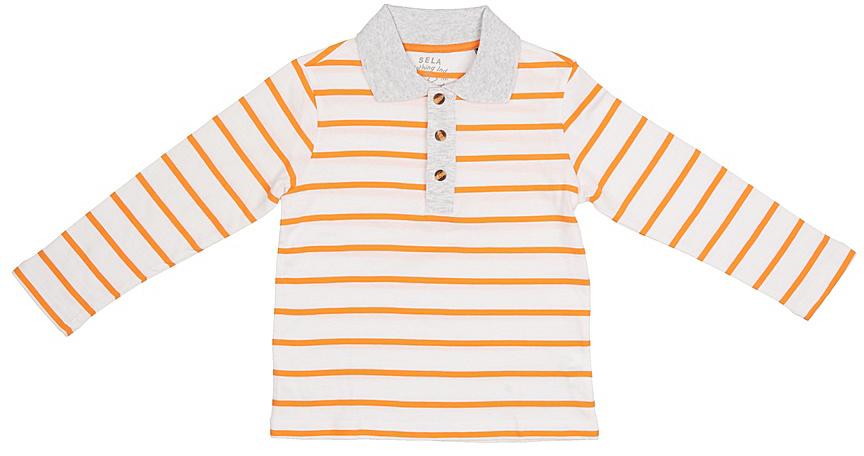 Поло для мальчика Sela, цвет: белый. Tp-711/527-7213. Размер 110, 5 летTp-711/527-7213Стильное поло для мальчика Sela выполнено из натурального хлопка и оформлено принтом в полоску. Модель прямого кроя с длинными рукавами и отложным воротничком застегивается на пуговицы до середины груди. Универсальный цвет позволяет сочетать модель с любой одеждой.