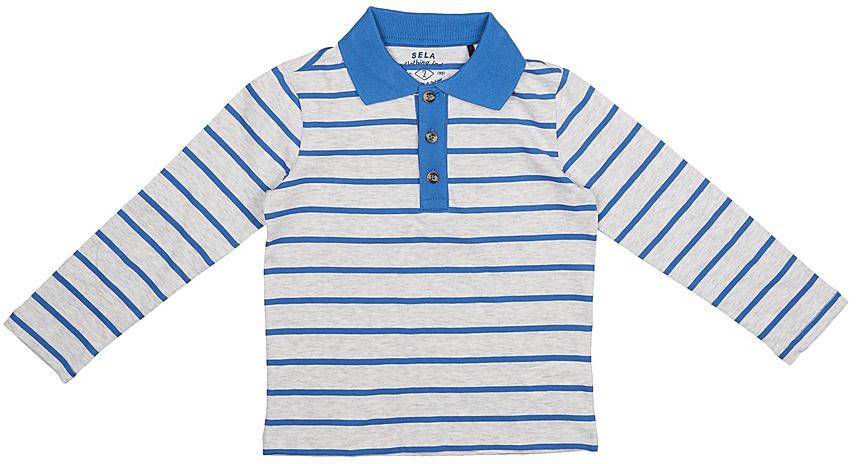 Поло для мальчика Sela, цвет: светло-серый меланж. Tp-711/527-7213. Размер 116, 6 лет