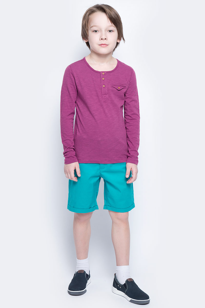 Футболка с длинным рукавом для мальчика Button Blue Main, цвет: брусничный. 117BBBC12050300. Размер 140, 10 лет117BBBC12050300Футболка с длинным рукавом и короткой планкой - не просто базовая вещь в гардеробе ребенка, а залог хорошего летнего настроения. Если вы планируете купить недорого стильную футболку для мальчика, эта модель - отличный выбор!