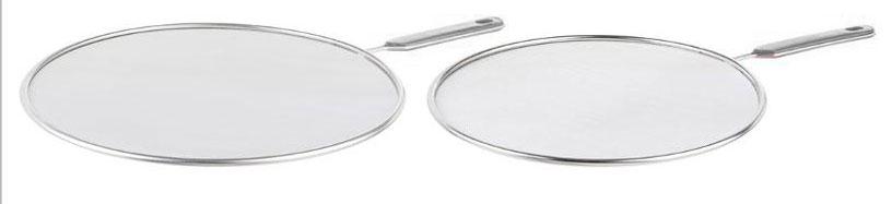 Крышка-экран от брызг JJA, цвет: серый, 2 шт120345BНабор состоит из двух крышек-экранов, диаметром 29 и 24,5 см. Эти крышки защитят Вас от брызг масла и жира, в процессе приготовления, при этом сетка отлично пропускает воздух и сохраняет полноценный режим жарки и варки. Сетка и прочный корпус выполнены из высококачественной нержавеющей стали, что обеспечивает его долговечность и износостойкость. Удобные ручки снабжены пластиковыми, приятными на ощупь вставками, с отверстиями для подвешивания. Такие крышки-экраны сделают приготовление пищи удобным и безопасным, станут хорошим дополнением к Вашему кухонному инвентарю.