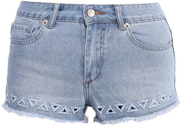 Шорты женские Sela Denim, цвет: голубой джинс. SHJ-335/601-7214. Размер 25 (40)SHJ-335/601-7214Женские джинсовые шорты Sela, изготовленные из качественного хлопкового материала, станут отличным дополнением гардероба в летний период. Короткие шорты прилегающего кроя и стандартной посадки на талии застегиваются на застежку-молнию и пуговицу и оформлены фигурными разрезами и бахромой по низу. На поясе имеются шлевки для ремня. Модель дополнена двумя втачными и накладным карманами спереди и двумя накладными карманами сзади.