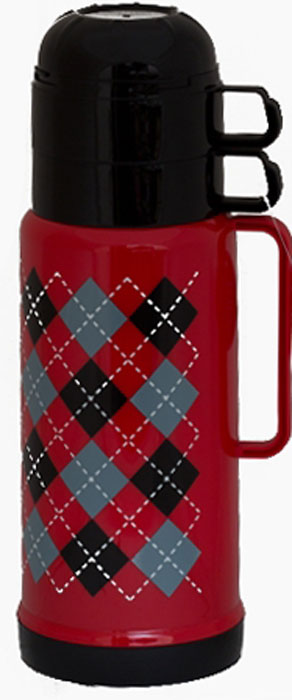 Термос Attribute Tartan, c двумя чашками, 1 л термос indiana classic с двумя кружками цвет серебристый 1 2 л