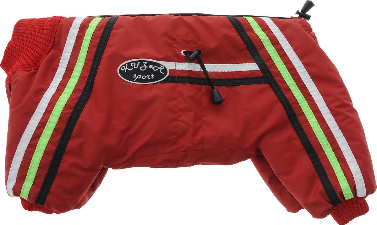 Комбинезон для собак Kuzer-Moda Спринт, для девочки, утепленный, цвет: красный. Размер 25KZF01451Комбинезон Kuzer-Moda Спринт предназначен для собак мелких пород. Изделие отлично подойдет для прогулок в прохладную погоду.Комбинезон изготовлен из прочной ткани, которая сохранит тепло и обеспечит отличный воздухообмен. Комбинезон застегивается на кнопки и липучку, поэтому его легко надевать и снимать. Ворот, низ брючин оснащены резинками, которые мягко обхватывают шею и лапки, не позволяя просачиваться холодному воздуху. На пояснице имеются затягивающиеся шнурки, которые также помогают сохранить тепло.Благодаря такому комбинезону, простуда не грозит вашему питомцу, и он не даст любимцу продрогнуть на прогулке.Обхват груди: 40 см.Обхват шеи: 21 см.Длина спины: 25 см.